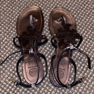 Brown & Snakeskin Tory Burch sandals